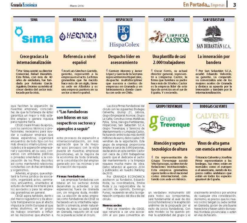 GRANADA ECONÓMICA y 12 empresas granadinas de primer nivel fundan un círculo para compartir experiencias