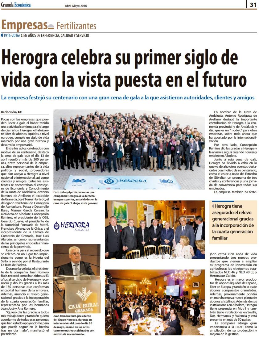 Centenario Herogra en Granada Economica