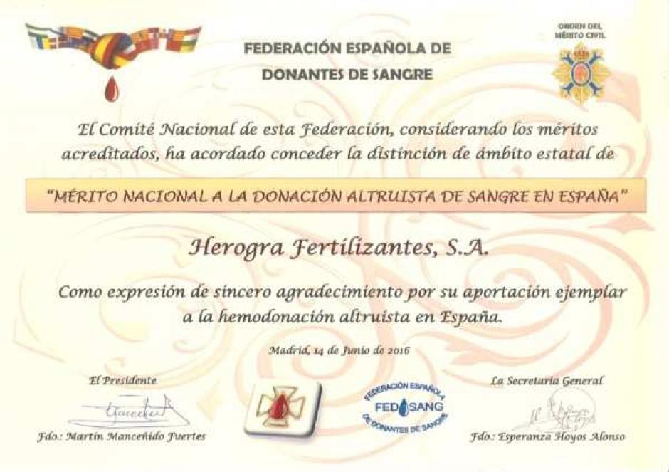 """HEROGRA distinguida al """"MERITO NACIONAL A LA DONACION ALTRUISTA DE SANGRE ENESPAÑA"""""""